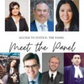 Hamna Anwar speaking at the Ryerson Criminal Law Students' Society's Access to Justice Panel.
